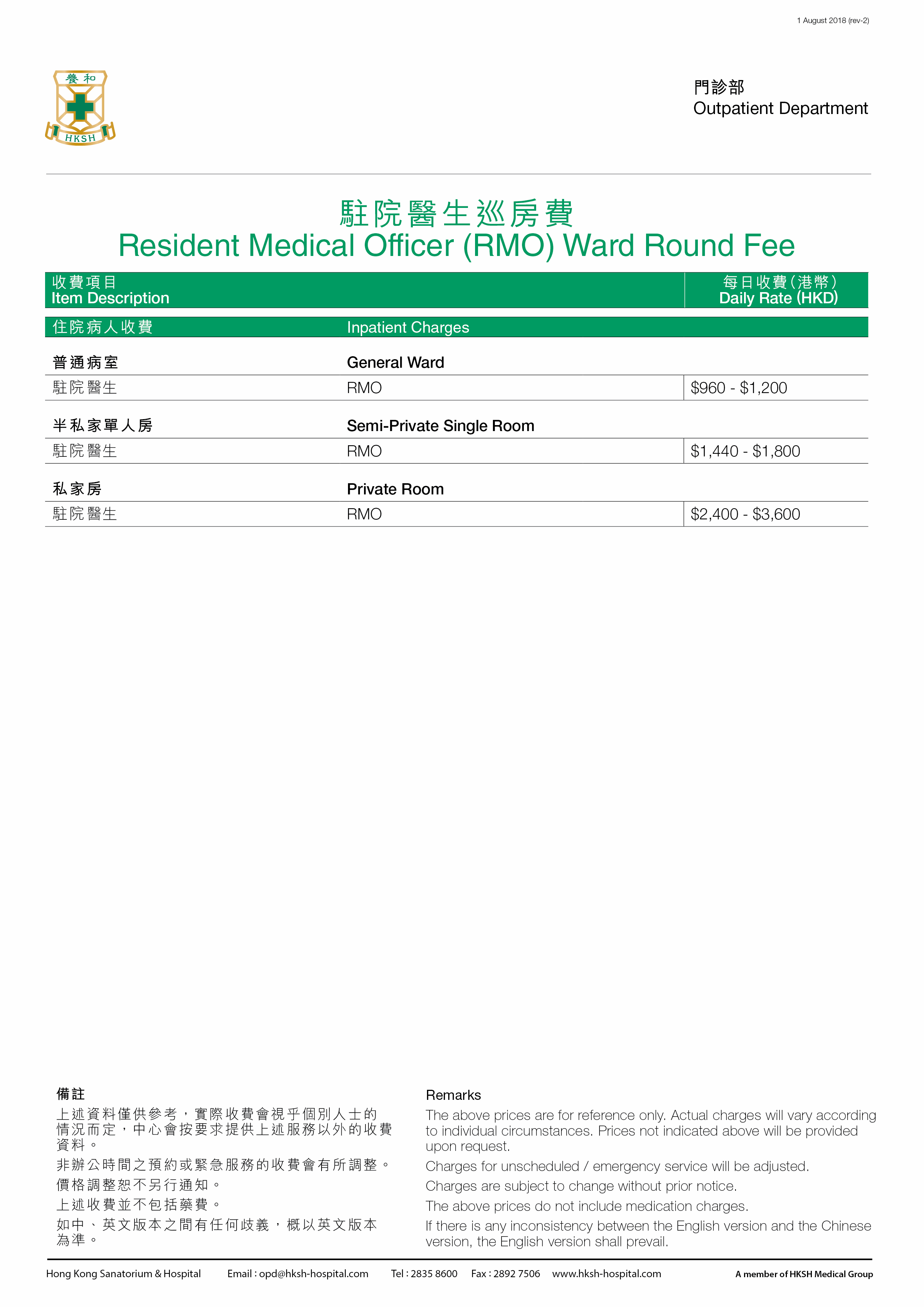 RMO Ward Round Fee